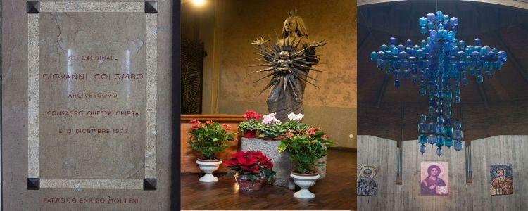 La targa inaugurazione, La Madonna del Sole e la Croce Blu in vetro di Murano