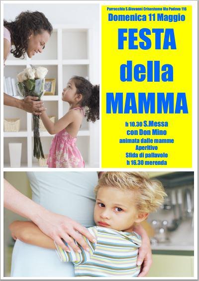 Domenica 11 Maggio Festa della Mamma in parrocchia San Giovanni Crisostomo