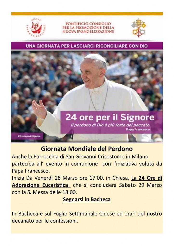 """La Chiesa San Giovanni Crisostomo rimane aperta per 24 ore di Adorazione Eucaristica in comunione con la Giornata Mondiale """"24 ore per il Signore."""