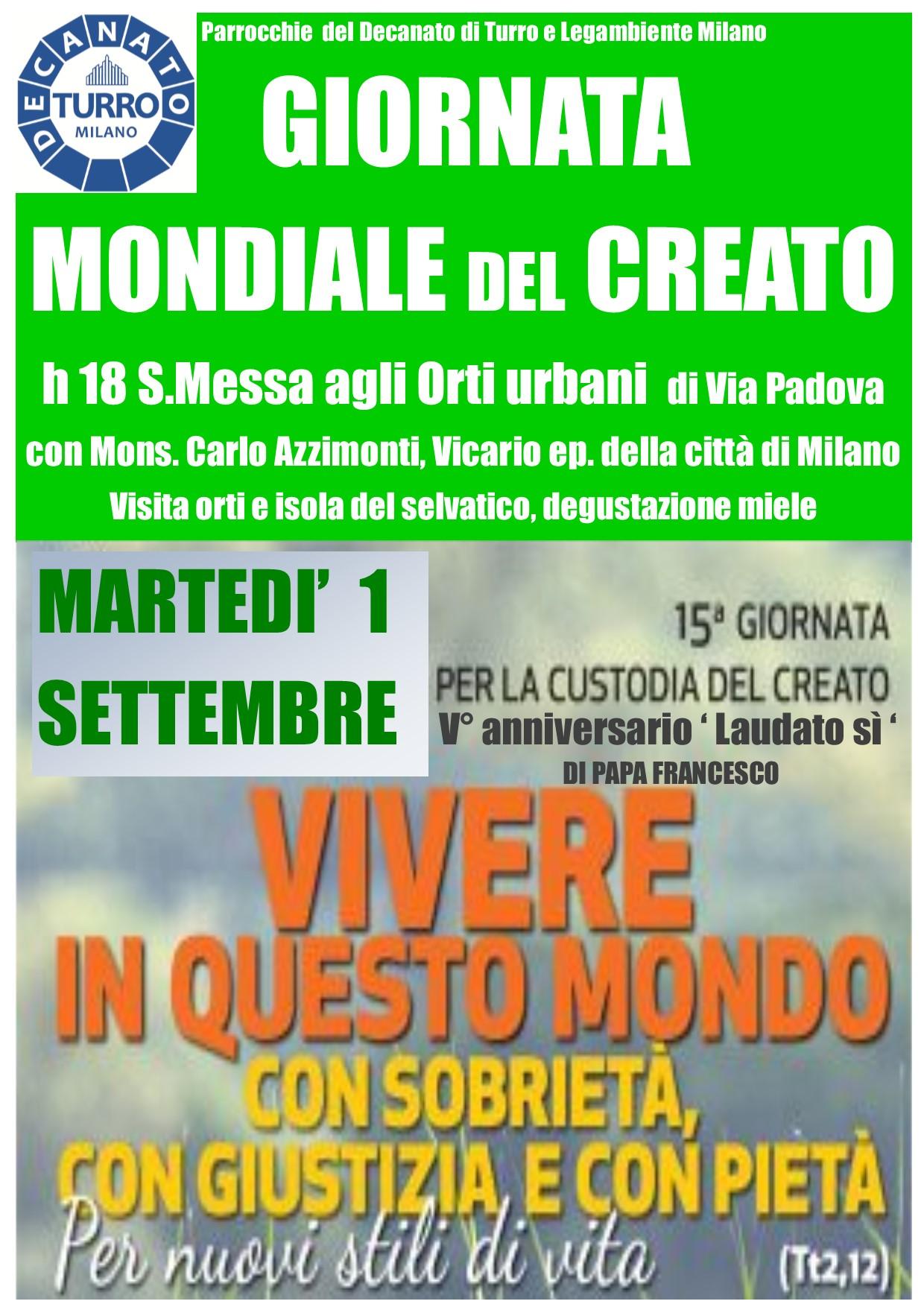 GIORNATA MONDIALE DEL CREATO – 1 Settembre 2020