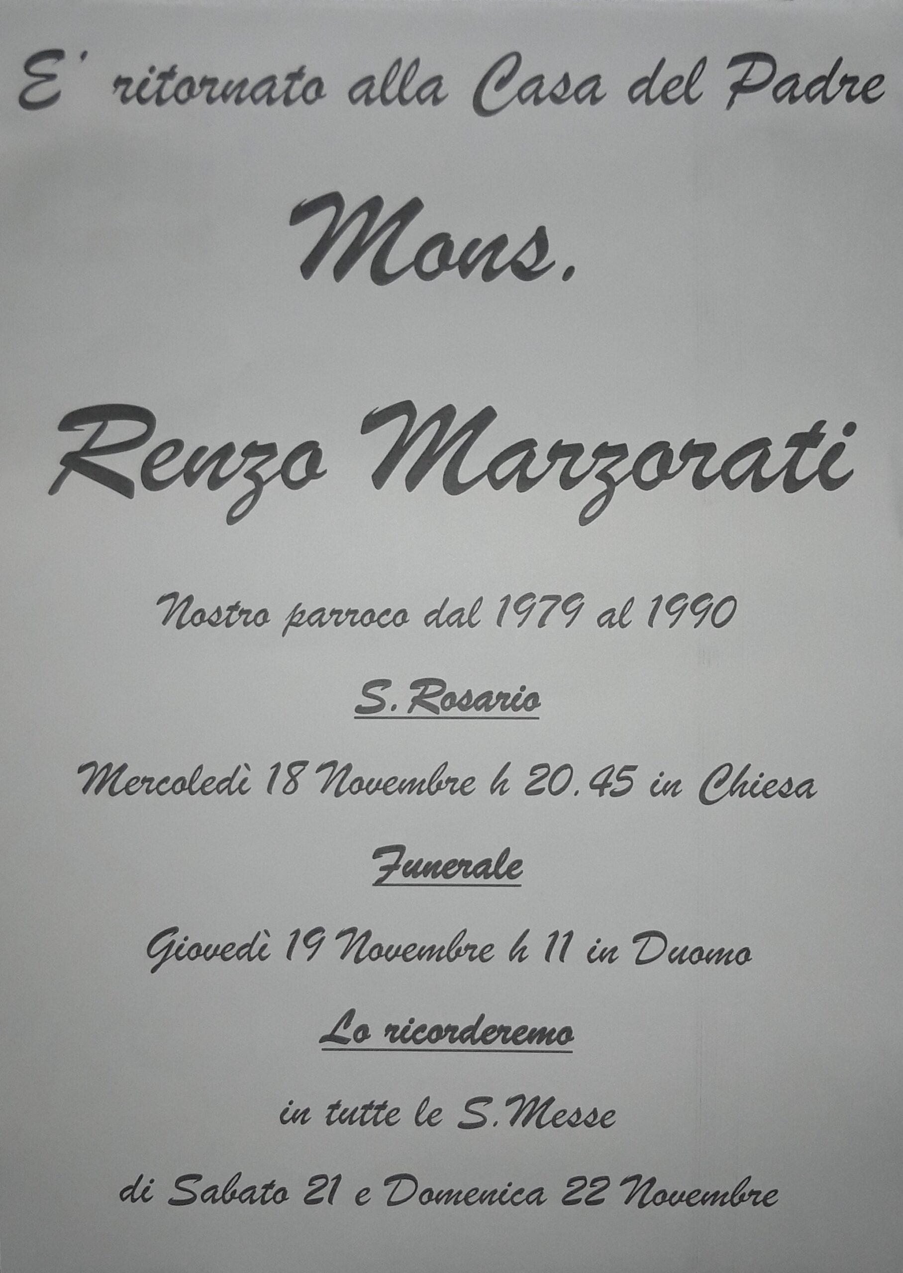 Mons. Renzo Marzorati è tornato alla casa del Padre